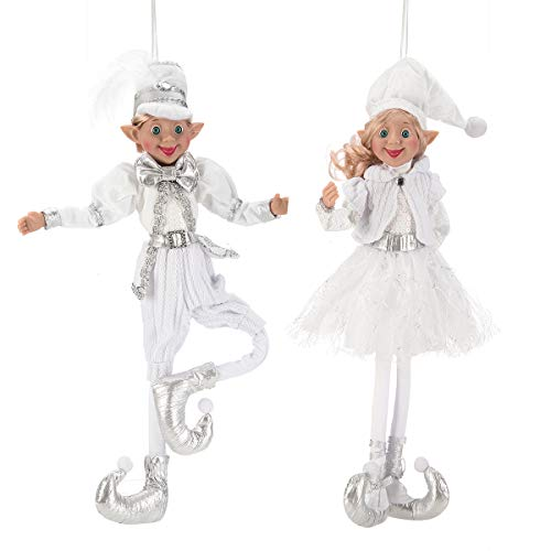 ARCCI 18.5 Inch Christmas Elves Figurine, Set of 2 White & Silver Posable Elf Christmas Figure, Xmas Holiday Party Home Decoration