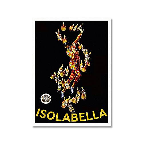 zuomo Isolabella Vintage Poster Wall Art Print Comida Bebida Lienzo Pintura Licor Imágenes publicitarias Idea de Regalo para la decoración de la Sala de Estar 50x70cm Sin Marco
