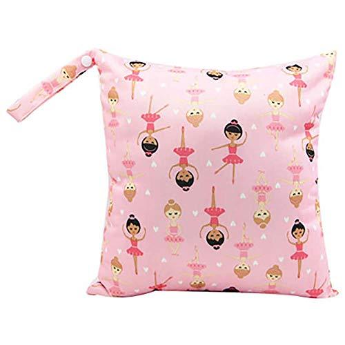 Depory Baby Reisen Windeltasche Wickeltaschen für Nasse und Trockene Kleidung Reißverschluss Wasserdicht Waschbar Nasstaschen Rosa