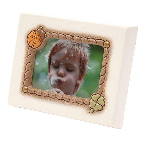 THUN  - Cornice Portafoto con Coccinella Portafortuna da Tavolo - Formato 10,5x7 cm - Color Avorio - Ceramica