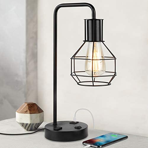 Dual USB Charging Port Edison Desk Lamp Industrial Table Lamps with 2 Prong AC Outlet Nightstand product image