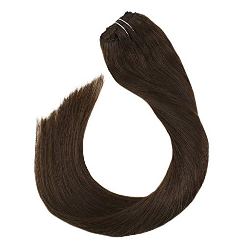 [5% Rabatt] Ugeat 40 cm Dunkelbraun Echthaar Extensions mit Clips Secret Tressen Easy Fit 100 Remy Echthaar Clip on Haarverlangerung fur Komplete 100 Gramm 7 Stucke