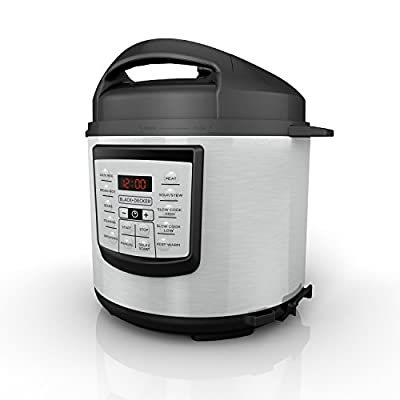 BLACK+DECKER 6 quart 11-in-1 Cooking Pot, Stainless Steel, Pressure Cooker, Slow Cooker, Multi-Cooker, PR100