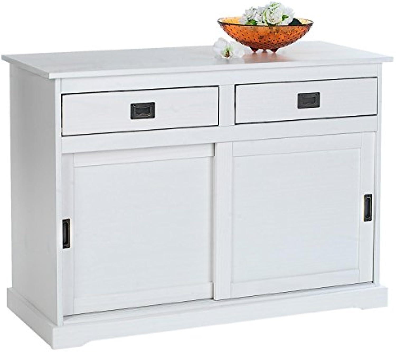 IDIMEX Anrichte Kommode Sideboard Savona mit 2 Türen 2 Schubladen, Holzkommode Kiefer massiv, Oberflche wei lackiert