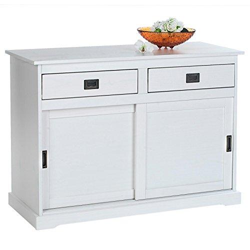 IDIMEX Buffet Savona bahut vaisselier Commode avec 2 tiroirs et 2 Portes coulissantes, en pin Massif lasuré Blanc