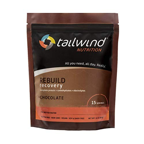 Tailwind Nutrition Rebuild Recovery Chocolate Drink Mix 15 Serving Pouch - Complete Protein, Electrolytes and Carbohydrates - Vegan, Gluten-Free, No Soy or Dairy