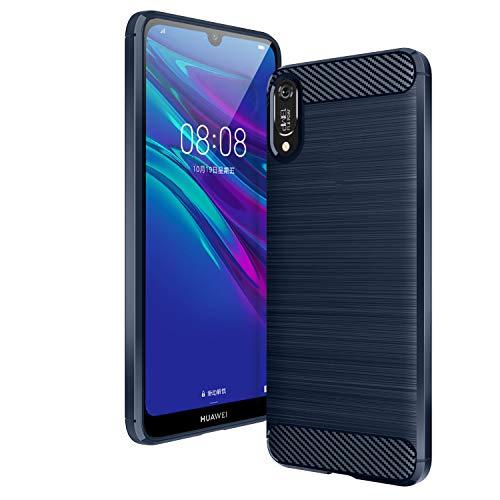 AIFIVE Huawei Y6 2019 Hülle, Flexiblem TPU Silikon Hybrid Schutzhülle Kohlenstoff-Fasern Tasche Slim-Fit Handyhülle für Huawei Y6 2019 (Blau)