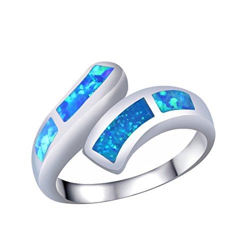 KELITCH Ringe Zum Frau Mädchen Blau Opal Öffnen Manschette Ring Sterling Silber Überzogen 925 Überzogen - Größe RS