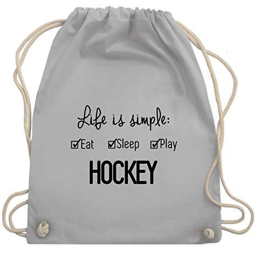 Shirtracer Eishockey - Life is simple Hockey - Unisize - Hellgrau - WM110 - Turnbeutel und Stoffbeutel aus Bio-Baumwolle