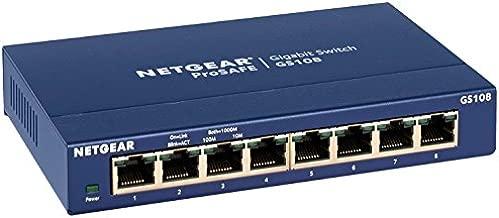 NETGEAR 8-Port Gigabit Ethernet Unmanaged Switch (GS108) - Desktop, and ProSAFE Limited Lifetime Protection