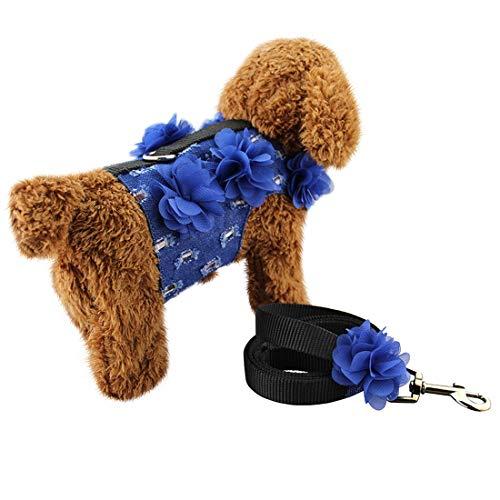 LJYNB Hond Kraag Denim + Doek + 3D Kant Bloemen Zachte Ademende Hond Harnas Huisdier Vest Hond Borstband, Grootte: S (Donkerblauw) Stijlvol en praktisch, Donkerblauw