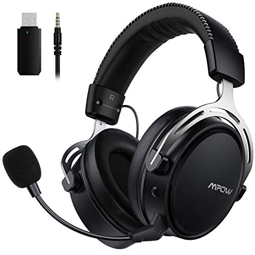 Mpow Casque Gaming pour PS4, PC, Xbox One, Casque stéréo sans Fil pour Jeux avec Microphone avec Annulation de Bruit, Mousse de mémoire, Son Enveloppant, émetteur USB Inclus