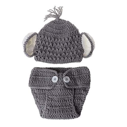 S-TROUBLE Traje de Sombrero de Ganchillo de Punto de Elefante bebé recién Nacido Fotografía Fotografía Accesorios de utilería