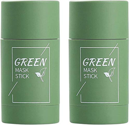 ZGHYBD 2PCS Green Tea Purifying Clay Stick Mask Gentle Blackhead Remover Deep Clean Pore Oil Control Suitable for All Skin Types