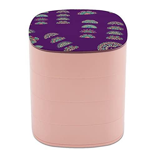 Rotar la caja de joyería con arte tradicional clásico de moda con espejo, estuches de joyería a granel, soporte de joyería de diseño multicapa para mujeres, niñas y niños