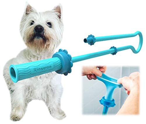 Rinseroo: Slip-on Dog Wash Hose Attachment. Pet Bather for Showerhead and Sink. Handheld Shower Sprayer/Washer. Fits Most Faucets. Universal 5 Foot Flex Hose. Not for Use On Tub Faucet. (1 Pack)
