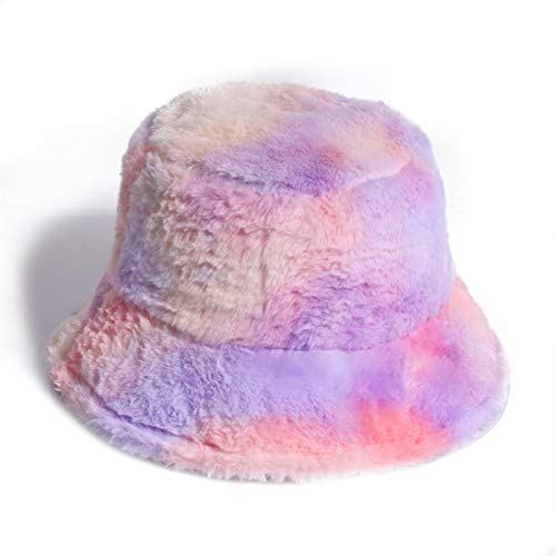 SUNQQA Outdoor Warm Lamb Faux Fur Bucket Hat Black Solid Fluffy Fishing Cap Panama Bob Fisherman Gorros Women Winter 2020 (Color : Lavender)