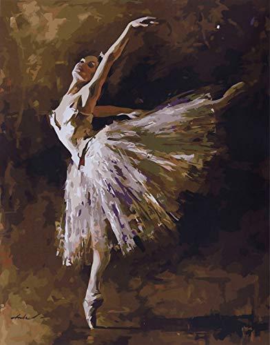 YXQSED Cader en Bois Peinture par numéro Kit, Peinture à l'huile Bricolage - Reine Ballet 16X20 inch