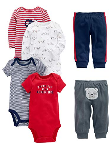 Simple Joys by Carter's Conjunto de 6 piezas de body para bebé (manga corta y larga) y pantalones ,Red/Navy Bear ,6-9 Meses
