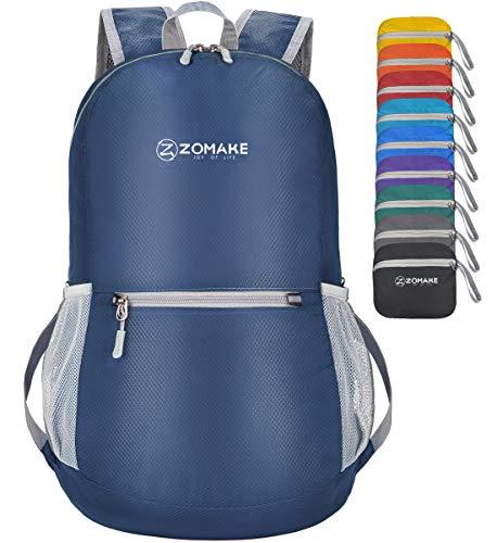 ZOMAKE Mochila Plegable Ligera 20L, Mochilas Pequeñas para Hombre Mujer, Mochilas Compacta para Viajar Senderismo(Azul Marino)