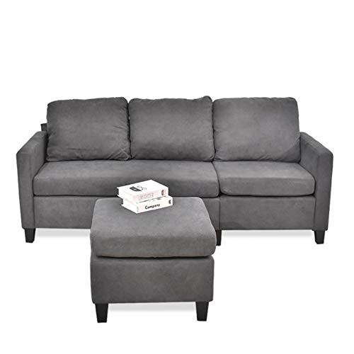 URRED L Shaped Sectional Couch for Living Room, Small Space Sectional Couches Sofas with Reversible Chaise and Ottoman, 3 Seater Couch for Small Space Apartment Under 500 Linen Fabric (Gray)