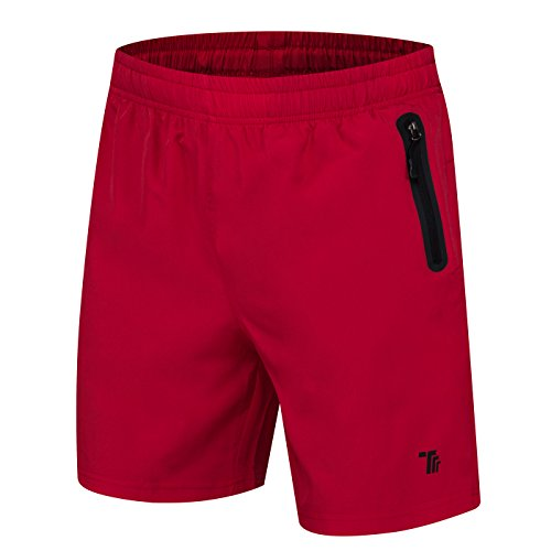 donhobo Kurze Hosen Herren Shorts Sport Trainingsshorts Fitness Short Sporthose mit Taschen Reißverschluss(01Rot,L)