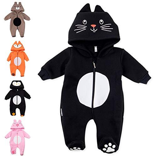 Baby Sweets Baby Tier Strampler Unisex schwarz im Motiv: Katze/Baby-Overall als Tierstrampler mit Kapuze für Neugeborene & Kleinkinder in der Größe 9 Monate (74)