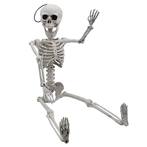 """Halloween Decoration 24"""" Pose-N-Stay Full Body Skeleton Plastic Bone with Posable Joints for Pose Skeleton Prop Indoor / Outdoor Spooky Scene Party Favors Décor."""