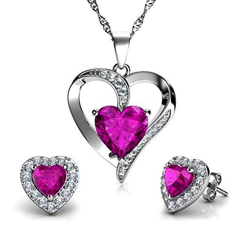 DEPHINI - Juego de collar y pendientes de corazón - Plata de ley 925 - Pendientes de cristal rosa y piedra natalicia - Juego de joyería fina para mujer - circonita cúbica