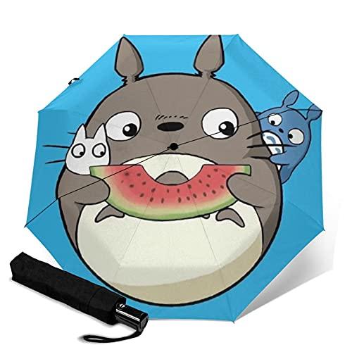 Anime My Totoro Paraguas Automático Tres Plegables Paraguas de Viaje Paraguas Portátil Con Asa Adulto Niños Unisex