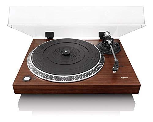 Lenco Plattenspieler L-90X halbautomatisch mit USB-Anschluss, Holzgehäuse, Audio Technica Tonabnehmer, walnuss