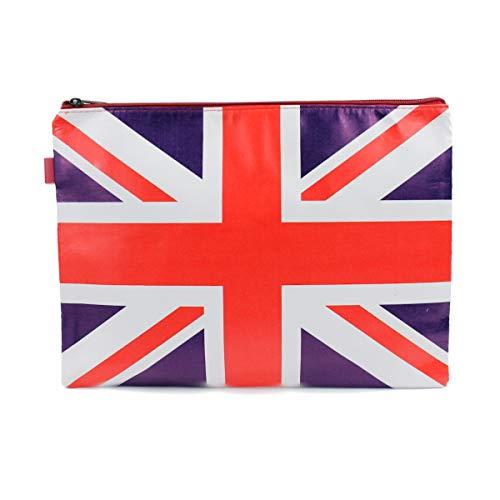 Mood Milano - Busta Astuccio Portatutto con stampa Bandiera dell Inghilterra in PVC dimensioni 24x17,5 cm (Misura M)