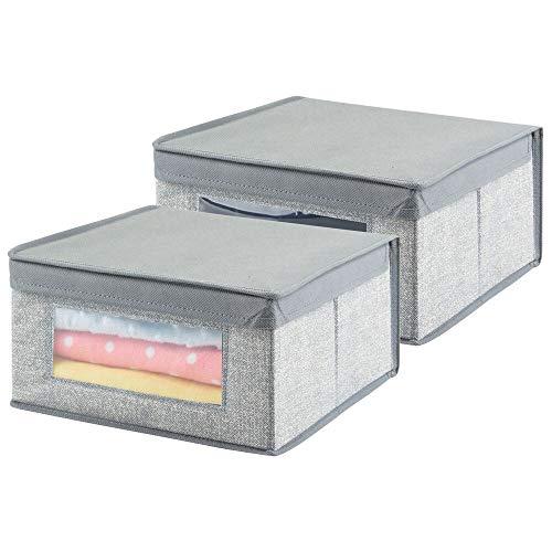 mDesign - Opbergdoos in 6-delige set - kledingkastorganizer/opbergbox - gemiddeld formaat/zacht - nette vierkante bergruimte voor een opgeruimd huis - stof - grijs