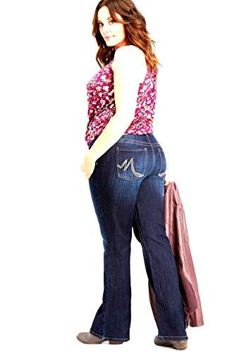 maurices Women's Plus Size Denimflex TM Dark Wash Bootcut Jean (18W-Short, Dark Wash Blue=-Short)