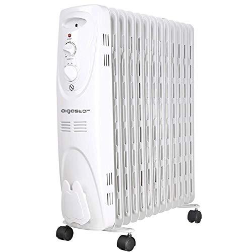 Aigostar Warm Snow 33JHF - 2500W Ölradiator Elektrische Heizkörper, Ölheizkörper mit 13 Rippen,Drei Heizstufen und Thermostatsteuerung Sicherheitsabschaltfunktion.Weiß. EINWEGVERPACKUNG.