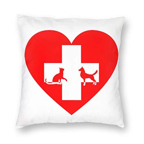 Funda de almohada Veterinarian Love Cat and Dog Fundas de microfibra veterinaria Soft Throw Pillow Funda de almohada estándar para hombres, mujeres, hogar, exterior, decorativo, sofá cama, 12 'x 12'