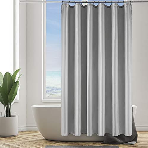 Furlinic Duschvorhang Anti-schimmel im Badezimmer Textiler Vorhang für Badewanne aus Polyester Stoff Antibakteriell Wasserdicht Waschbar mit 12 Schwarz Edelstahl Duschringen Grau 180x210.