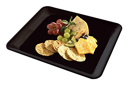 5 Rectangle Black Plastic Trays Heavy Duty Plastic Serving Tray 10' x 14' Serving Platters Food Tray Decorative Serving Trays Wedding Platter Party Trays Great Disposable Serving Party Platters Black