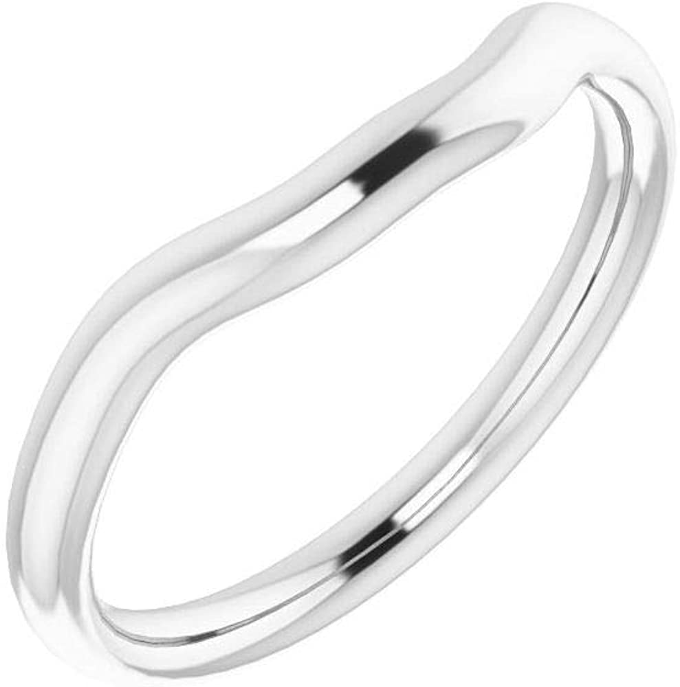 Solid 10K White Gold Curved Notched Wedding Band for 6x6mm Square Ring Guard Enhancer - Size 7