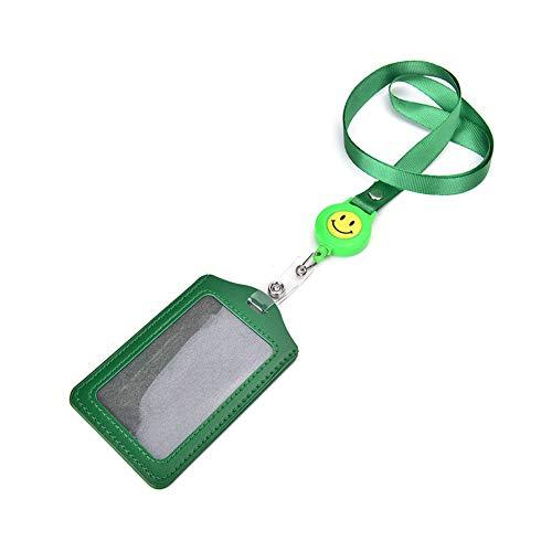 Jiyoujianzhu - Soporte para tarjeta de identificación, retráctil, correa para el cuello, color verde