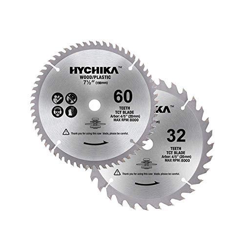 HYCHIKA Kreissägeblätter 2 PCS: 60T und 32T, Durchmesser 190mm, Dorn: 20mm, zum Schneiden von Holz oder Kunststoff
