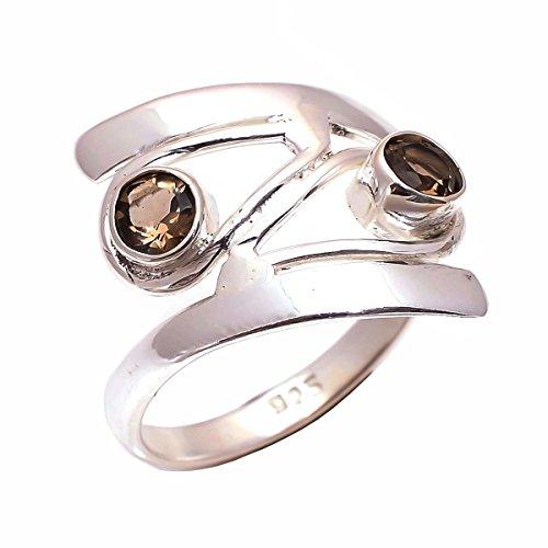 Ring aus 925 Sterlingsilber, Größe P, natürlicher Rauchgrau, handgefertigt, CR3032