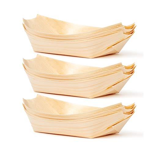 Matana 100 Platos de Bambú en Forma de Barco - 22x11cm - Ecológicos, Biodegradables - Bandejitas Desechables | Cuencos de Postre de Aperitivo