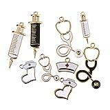 ZJL220 9Pcs DIY Emaille Krankenschwester Thema Anhänger Anhänger Charms Stethoskop Spritze Krankenschwester Cap Hut Charms für Schmuckherstellung Handwerksfunde