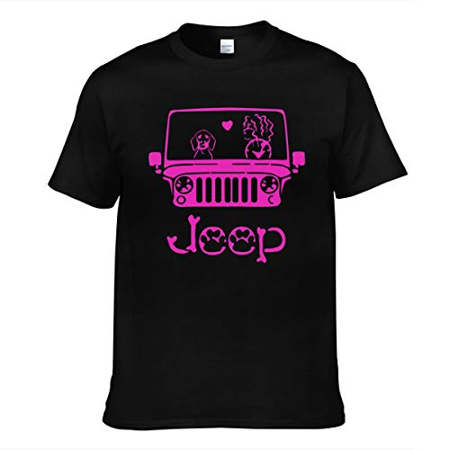 Hommes Homme I Love Dog-Jeep for Girl Logo Sommer Manches Courtes Tee Shirts Chemise T Shirt Col Rond pour Men Black XXL T-Shirt