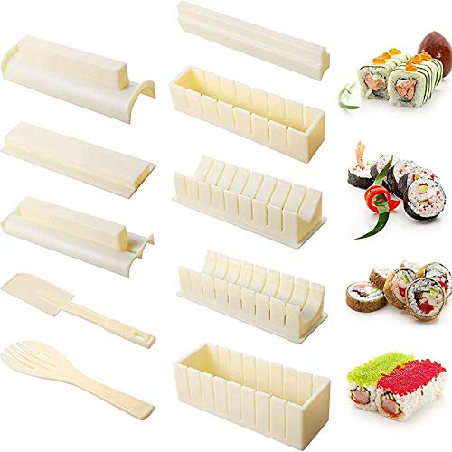 Sushi Making Kit for Beginners 10 Pieces DIY Easy Sushi Maker Roller Sushi Mould Perfect Kitchen Cookin Tool of Sushi Roller Non-Stick Rice Roll Maker Sushi Mould Roller Mold Sushi Making Tool Set