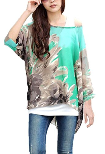 Blusas y Camisas Mujer Estampadas Flores Camiseta Bohemia Tops con Mangas Largas de Murciélago...
