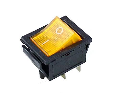 Yijiang Interruptor basculante 10 PCS ON-Off 16A 250VAC / 20A 125VAC Botón Rojo Interruptor de rockero de luz 4 Pin Rocker Power Interruptor (Color : Yellow)