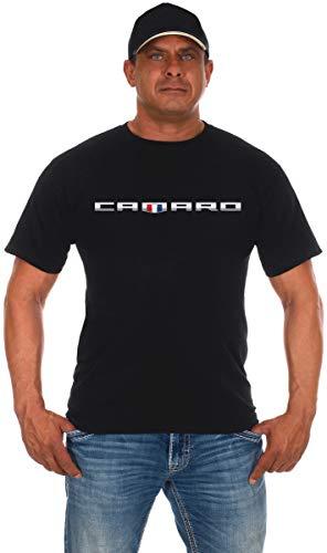 JH Design Men's Chevy Camaro Shield T-Shirt Short Sleeve Crew Neck Shirt (X-Large, Black)