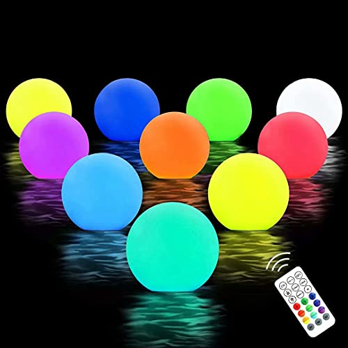 Chakev Floating Pool Lights, 16 Colors Pond LED Ball Lights with Remote Control, Waterproof Cordless Hot Tub Lights Kids Night Light Ball Lamp for Pool Garden Backyard Lawn Beach Party Decor 10 Pack